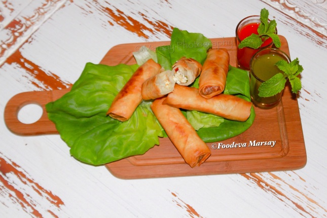 Arabian Styled Cheese Spring-Rolls ready to be ENJOYED!!!