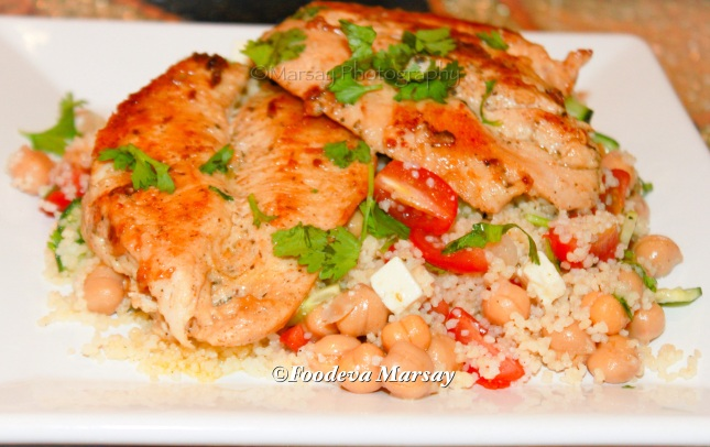 Greek 'Salad Dressing' Chicken on a bed of Mediterranean Couscous Salad
